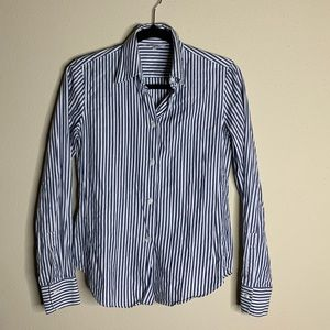 loro piana blue and white button down blouse